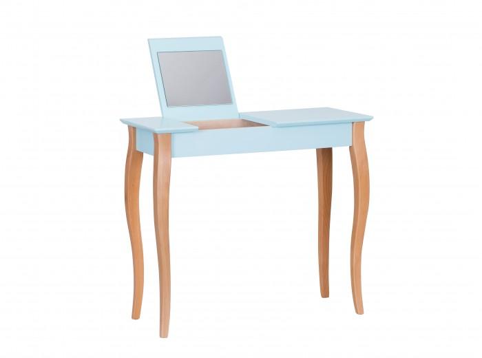 Masa machiaj cu oglinda, din lemn de fag si MDF Lillo Medium Light Turquoise / Beech, L85xl35xH74 cm