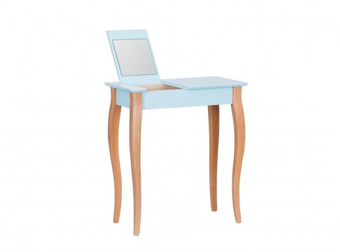 "Masuta machiaj cu oglinda, din lemn de fag si MDF ""Lillo Small"" Light Turquoise / Beech, L65xl35xH74 cm"