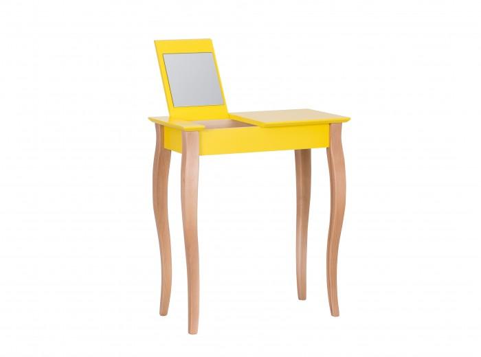 Masuta machiaj cu oglinda, din lemn de fag si MDF Lillo Small Yellow / Beech, L65xl35xH74 cm