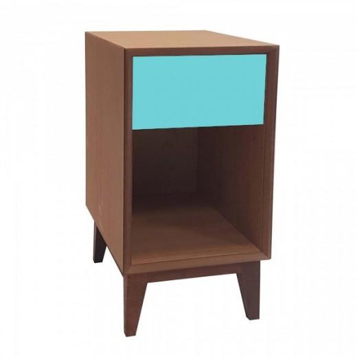 Noptiera din MDF, cu 1 sertar Pix Large Oak / Dark Turquoise, l40xA40xH55 cm