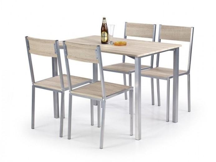 Set masa din MDF si metal + 4 scaune Ralph Sonoma Oak, L110xl70xH75 cm