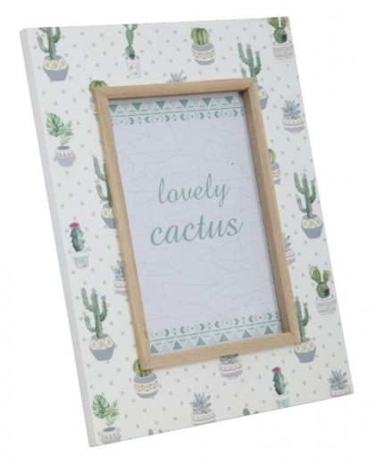 Rama foto decorativa din MDF Cactus Simple Multicolor, 22 x 27 cm