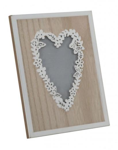 Rama foto decorativa din MDF si lemn Laugh Love Natural, 17,5 x 22,8 cm