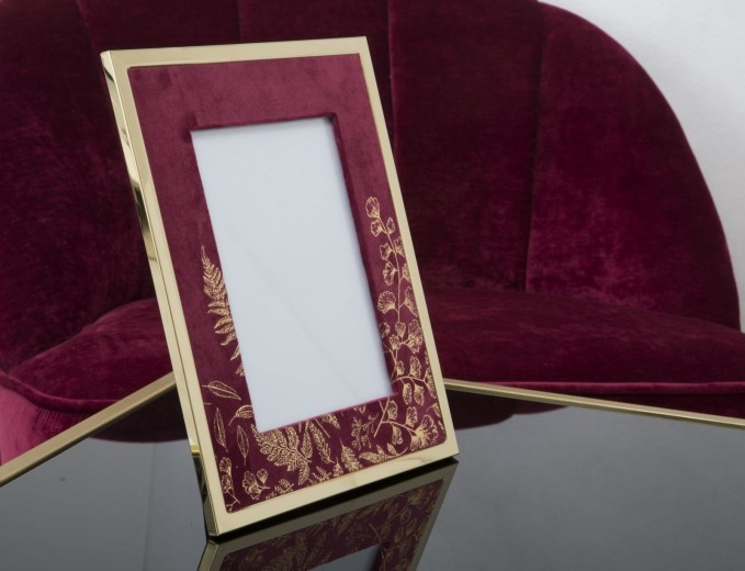 Rama foto decorativa din MDF si metal Glam Small Bordeaux / Auriu, 24 x 29 cm