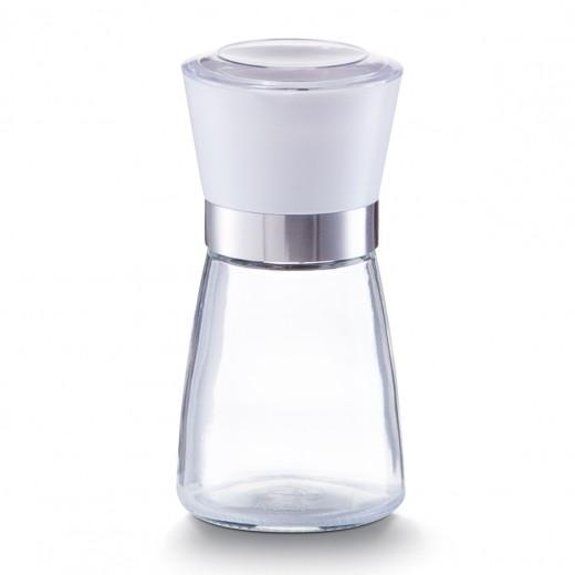 Rasnita sare / piper din sticla si plastic, Small White Ø 6,5xH13,6 cm