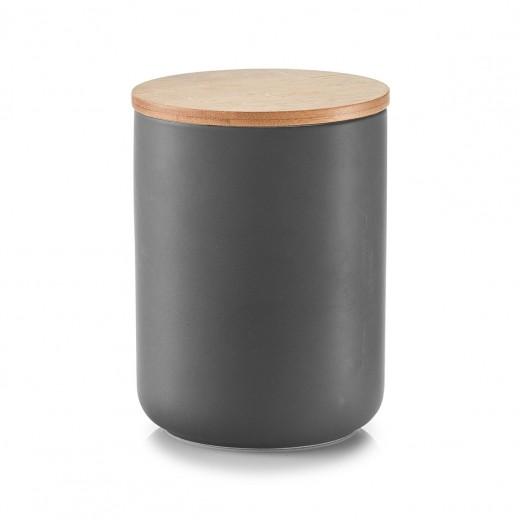 Recipient ceramic pentru depozitare, capac din bambus, Anthracite 1150 ml, Ø 12xH16 cm