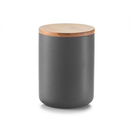 Recipient ceramic pentru depozitare, capac din bambus, Anthracite 650 ml, Ø 10xH13,5 cm