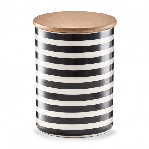 Recipient ceramic pentru depozitare Stripes, capac din bambus, Black/White, 900 ml, Ø 11,5xH15 cm