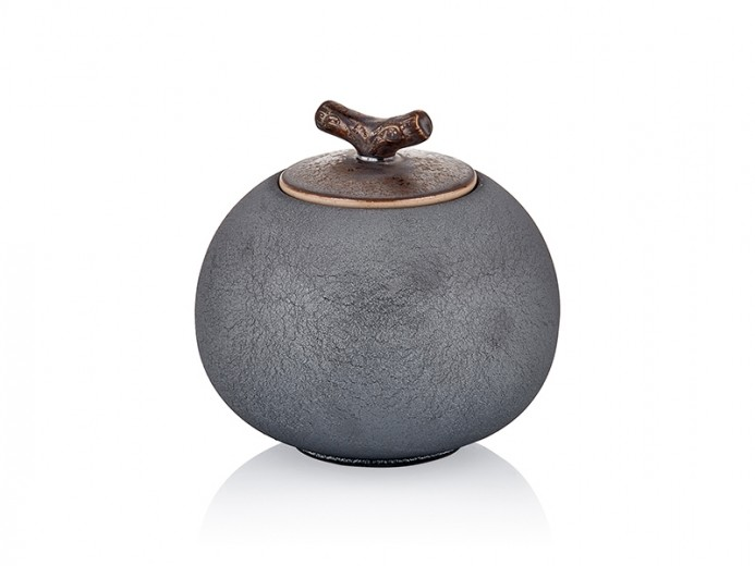 Recipient decorativ din ceramica pentru depozitare Diamond Big Antracit, Ø13xH13 cm