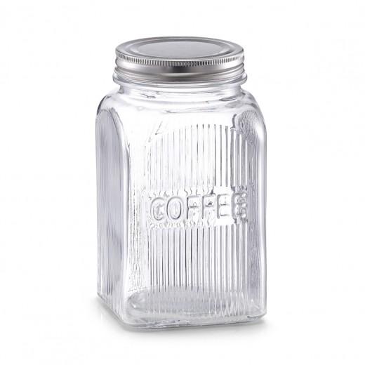 Recipient din sticla pentru cafea Coffee, capac metalic, 1150 ml, l10xA10xH18 cm