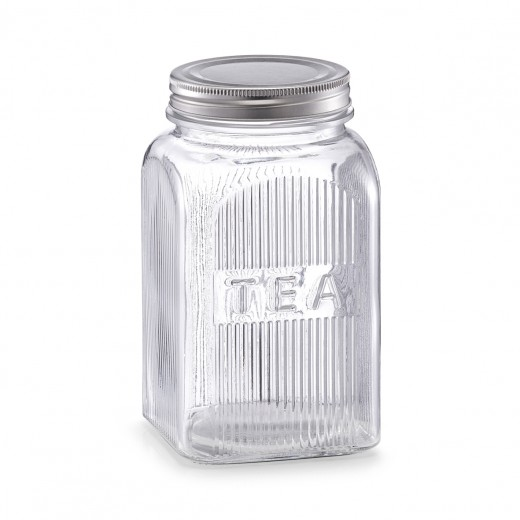 Recipient din sticla pentru ceai Tea, capac metalic, 1150 ml, l10xA10xH18 cm