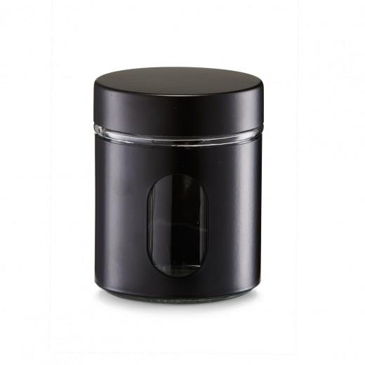 Recipient pentru depozitare Visual II, metal si sticla, Black 600 ml, Ø 10,2xH12,5 cm