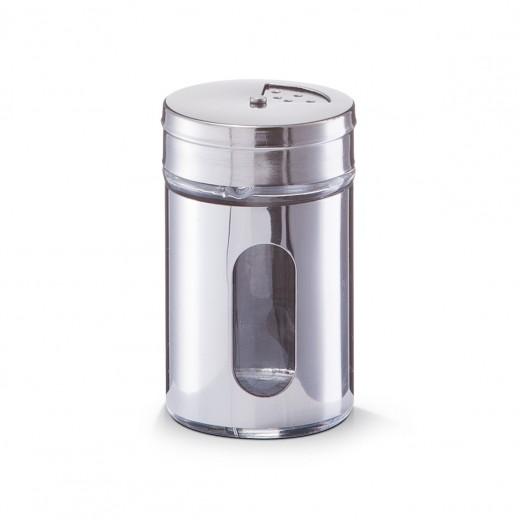 Recipient pentru condimente Visual, inox si sticla, Silver 80 ml, Ø 5xH8,5 cm