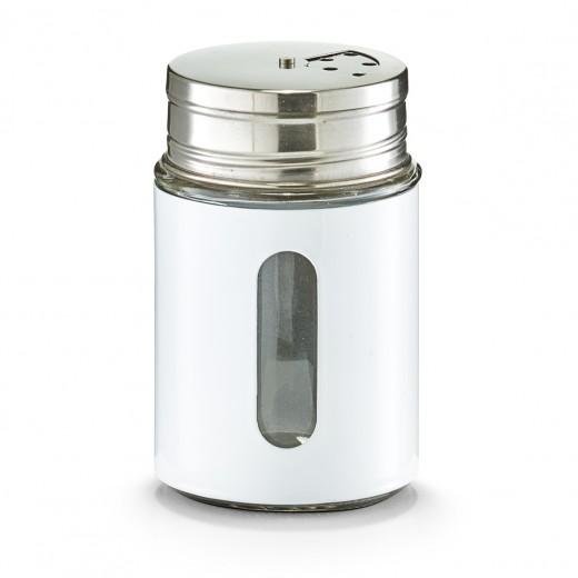 Recipient pentru condimente Visual, inox si sticla, White 270 ml, Ø 7xH11,5 cm