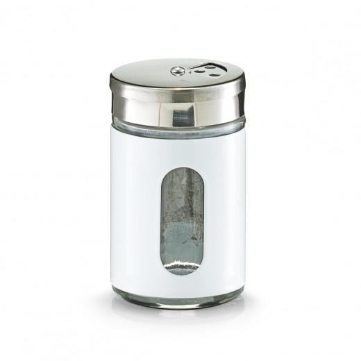 Recipient pentru condimente Visual, inox si sticla, White 90 ml, Ø 5xH8,5 cm