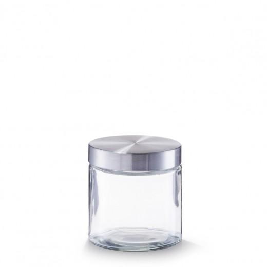 Borcan pentru depozitare, capac inox, Glass 750 ml, Ø 11xH12 cm