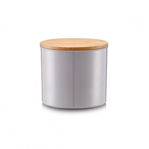 Recipient pentru depozitare cu capac din bambus, Grey Polistiren, 930 ml, Ø 12,5xH12 cm