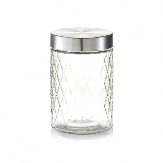Recipient pentru depozitare cu capac metalic, Diamond I Glass, 1200 ml, Ø 11xH17 cm