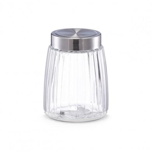 Recipient pentru depozitare cu capac metalic, I Groove Glass, 1350 ml, Ø 12,5xH16,5 cm