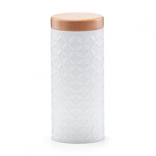 Recipient pentru depozitare cu capac Scandi Long, White Metal, Ø 7,6xH17,9 cm