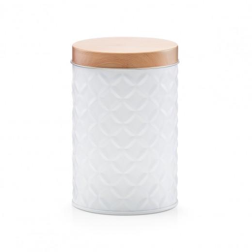 Recipient pentru depozitare cu capac Scandi Short, White Metal, Ø 8,4xH13 cm