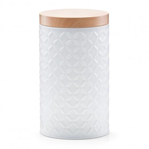 Recipient pentru depozitare cu capac Scandi, White Metal, Ø 10,8xH18,6 cm
