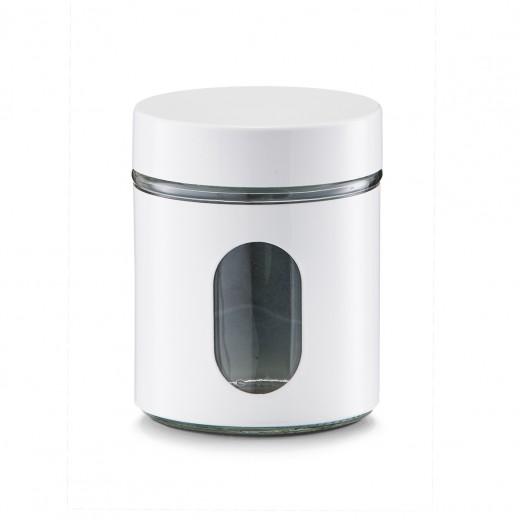 Recipient pentru depozitare Visual, metal si sticla, White 600 ml, Ø 10,2xH12,5 cm