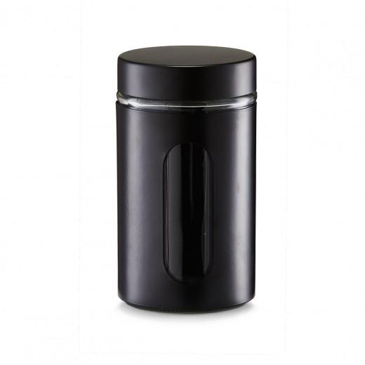 Recipient pentru depozitare Visual II, metal si sticla, Black 900 ml, Ø 10,2xH18 cm