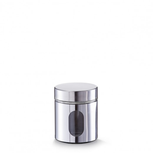 Recipient pentru depozitare Visual, inox si sticla, Silver 500 ml, Ø 10,2xH12,5 cm