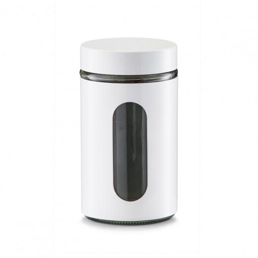 Recipient pentru depozitare Visual, metal si sticla, White 900 ml, Ø 10,2xH18 cm
