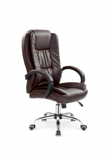 Scaun de birou directorial, tapitat cu piele ecologica Relax Dark Brown, l64xA75xH110-118 cm