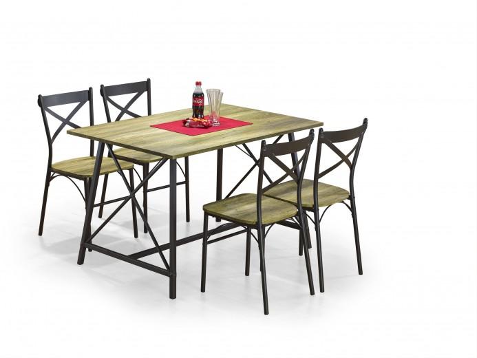 Set masa din MDF si metal + 4 scaune Reliant Black / Natural, L120xl80xH75 cm