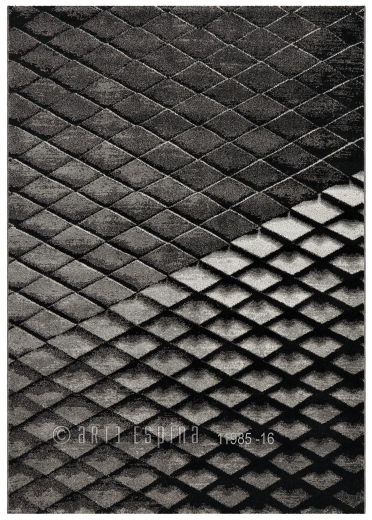 Covor Folded Negru/Gri, Tesut mecanic