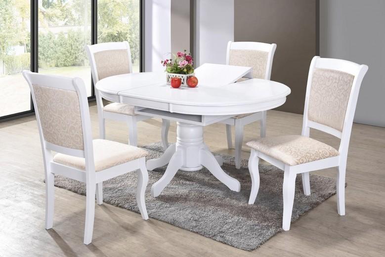 Set masa extensibila din lemn Galla White + 4 scaune Galla White, L107-152xl107xH76 cm