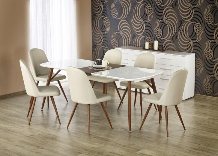 Set masa extensibila din MDF si metal Richard White / Cherry + 6 scaune K214 Cream / Cherry, L150-190xl90xH75 cm