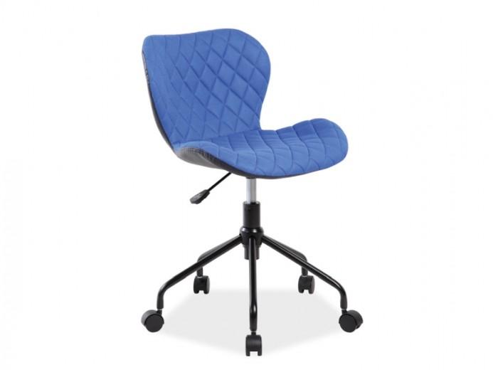 Scaun de birou ergonomic, tapitat cu stofa si piele ecologica Rino Blue, l50xA37xH77-85 cm