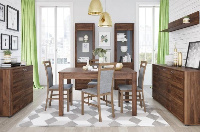Set de mobila dining din pal, 6 piese Rondo Walnut