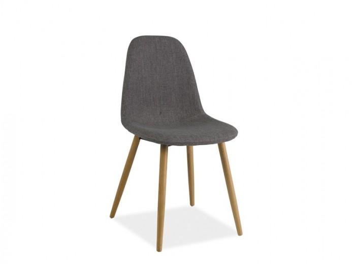 Scaun tapitat cu stofa, cu picioare din lemn Rubi Grey, l49xA39xH87 cm