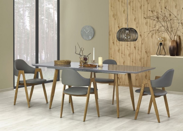Set masa extensibila din metal si MDF Ruten II Grey + 4 scaune K247 Grey, L160-200xl90xH76 cm