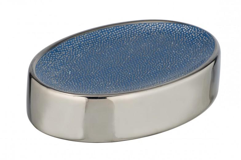Sapuniera din ceramica Nuria Argintiu / Albastru, L12xl8xH3 cm