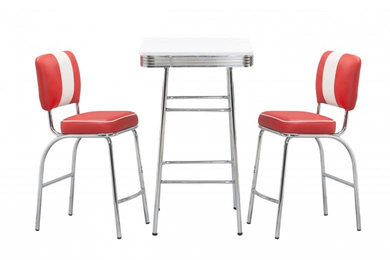 Masa de bar din MDF si metal SB-11 White, L60xl60xH100 cm