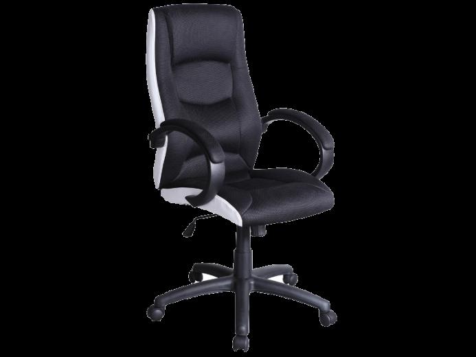 Scaun de birou directorial, tapitat cu piele ecologica si stofa Q-041 Black / White, l62xA46xH112-120 cm