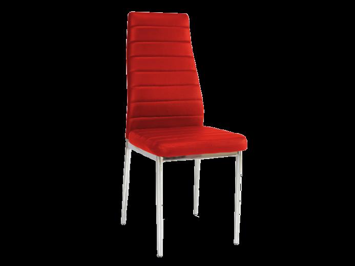 Scaun tapitat cu piele ecologica, cu picioare metalice H-261 Red, l40xA38xH96 cm