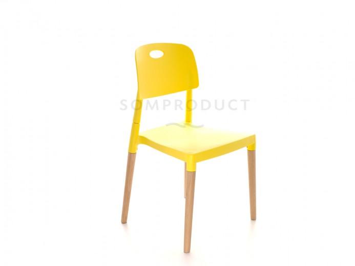 Scaun din plastic cu picioare din lemn Deo Yellow, l47xA48xH82,5 cm