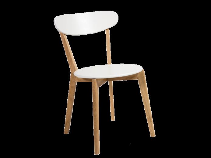 Scaun din lemn si MDF Milan Alb / Stejar, l42xA42xH79 cm