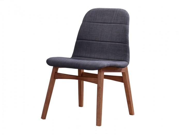 Scaun tapitat cu stofa, cu picioare din lemn Mia Gri, l47xA41xH83,5 cm