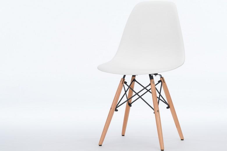 Scaun din plastic cu picioare din lemn Enzo White / Beech, l43xA42xH83 cm