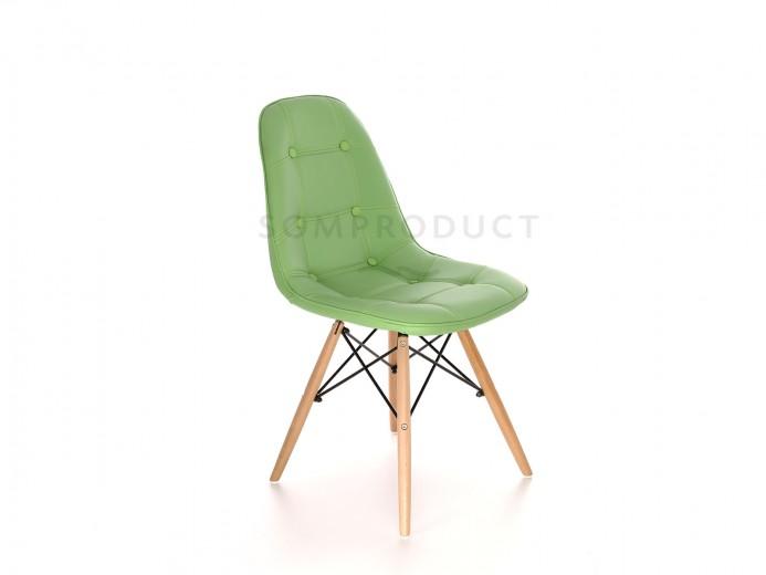 Scaun tapitat cu piele ecologica si picioare de lemn Iars Green, l41xA36xH83 cm