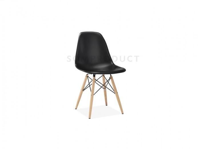 Scaun din plastic cu picioare din lemn Lois Black, l46xA37xH81 cm