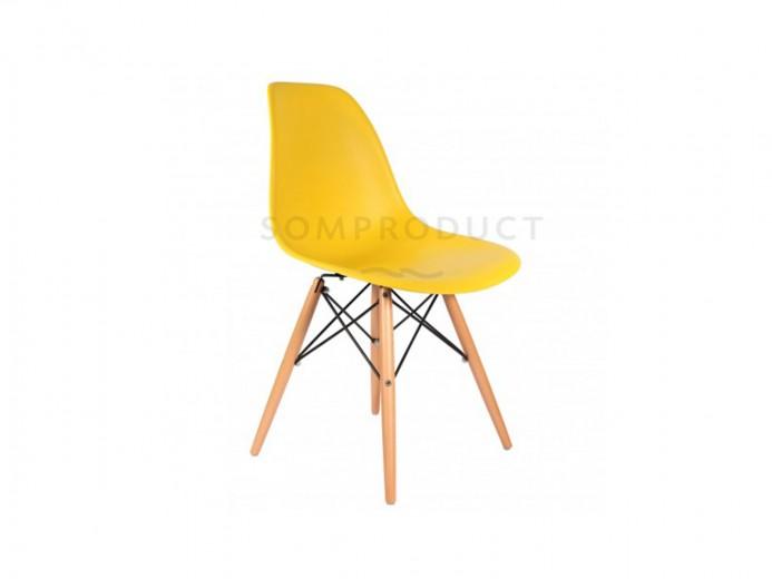 Scaun din plastic cu picioare din lemn Lois Yellow, l46xA37xH81 cm